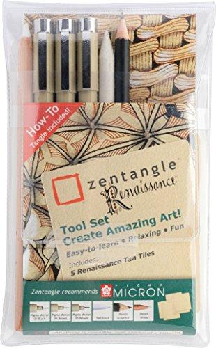 Zentangle Renaissance Tool-Set 11, mit Sakura Pigma Micron Finelinern, Kacheln und Stiften