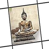 creatisto Fliesen Zum Aufkleben | Klebe-Fliesenaufkleber Küchenfliesen Bad-Folie Wanddeko | 20x25 cm Design Motiv Relaxing Buddha - 1 Stück