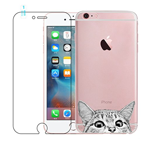 iPhone 6 Hülle, iPhone 6S Hülle, Kreative Ultradünne Lustig Katze Muster Durchsichtig Silikon Cover TPU Gel Bumper Schutzhülle Weich Schutz Handyhülle Tasche Etui für iPhone 6 / 6S