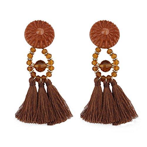 Hosaire 1 Paar Mode Kristall Edelstein Garn Quaste Lange Ohrringe Kreative Ohrring Anhänger Ohrstecker Damen Schmuck Zubehör Geschenk Braun 9.5 * 2.8cm