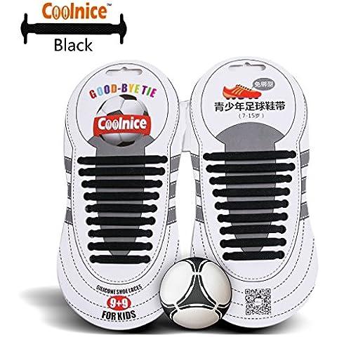 Coolnice Deporte elásticos Cordones No Tipo Tie - forma plana, resistente a las manchas Color Negro, silicona Ambientalmente seguro - Adolescente