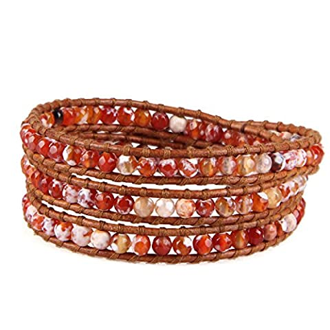KELITCH Red Fire Agate Stone Bead Leather Wrap Bracelet for Women