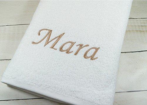 ★ Handtuch mit Namen bestickt ★ Duchtuch ★ Geschenk ★ Handtuch ★ 550 g/m2 ★ (50 x 100 cm, Weiß)