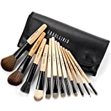 Fraulein38 12teilig Holz Make up Lidschatten Pinsel EchtHaar Schwarz Etui Set