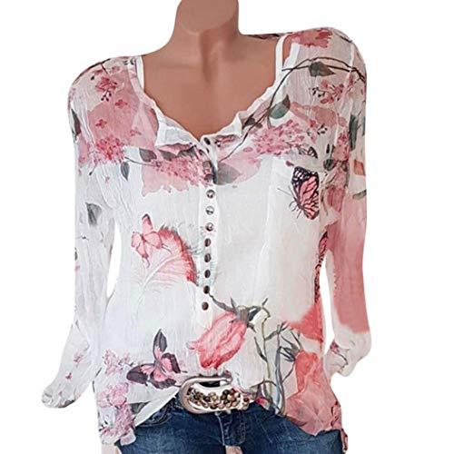 Hevoiok Spätester Sommer Herbst T-Shirt Damen Mode Sexy Freizeit Blumenmuster Oberteile Chiffon Hemdbluse Locker Langarm Bluse Tops mit Knopf große größen S-5XL (Weiß, L)