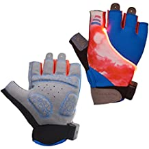 Auchee LED Blinkerhandschuhe | Waschbar | Batterie austauschbar | Stoßdämpfende SBR-Pad | Silica Gel Grip | Breathable Lycra Half Finger Handschuhe für BMX Mountain Bicycle Bike Road Racing