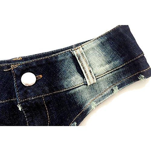M-Queen Damen Hot Shorts Denim Sommer Vintage Hohe Taille Loch Süßigkeit Farben Nachtclub Kostüme Pants Kurze Hose Blau 03