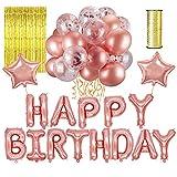 LATTCURE Geburtstag Dekoration, Geburtstag Deko Happy Birthday Rosegold Ballon, Partydeko Set