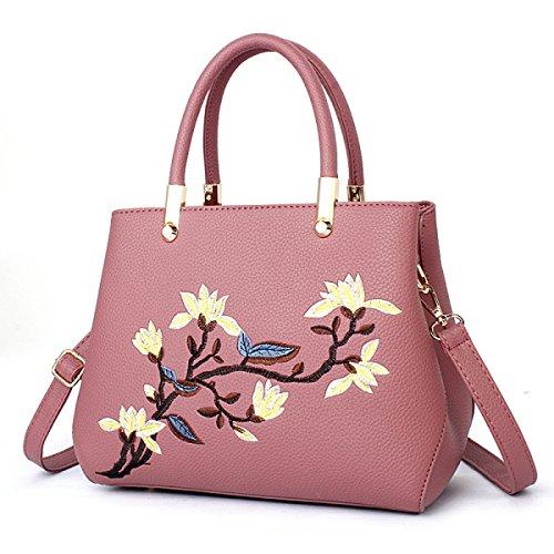 2017 PU Leder Geldbörsen Crossbody Taschen Für Frauen Mit Und Verstellbaren Riemen Stickerei Blume Handtasche Purple