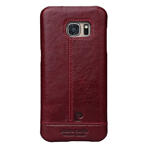 Pierre Cardin Luxury Leather Back Case Cover for Samsung Galaxy S7 Edge – Wine Red