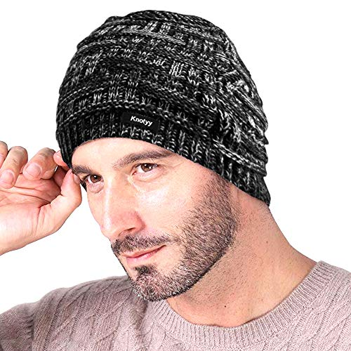 Knotyy Unisex Woolen Beanie Cap (Smudgy-Black,Free Size)