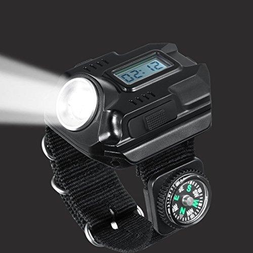 Super luminoso LED R5ricaricabile impermeabile torcia LED Wristlight orologio da polso con bussola, ideale per corsa, alpinismo, campeggio di sopravvivenza escursionismo caccia Patrol