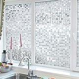 ASDFGH Statische klarsichtfolie 3D-mosaik Fensterfolien, Fensterfolie sichtschutz Mattiertes Glas Film für Dusche Privatsphäre dekofolie Für Office Wohnzimmer-A 120x100cm(47x39inch)