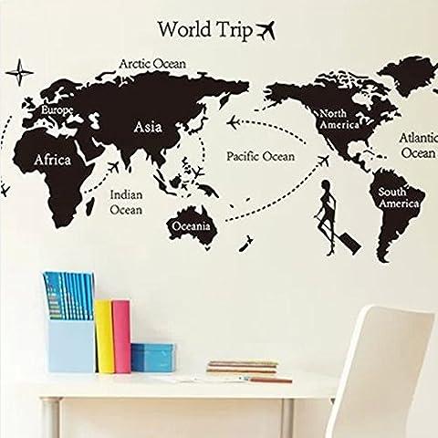 Bluelover Viaje Universal negro mundo mapa pared adhesivo ecológico decoración