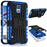 ONEFLOW Samsung Galaxy S5 | Hülle Silikon Hard-Case Blau Outdoor Back-Cover Extrem Stoßfest Schutzhülle Grip Handyhülle für Samsung Galaxy S5 / S5 Neo Case Rückseite Tasche