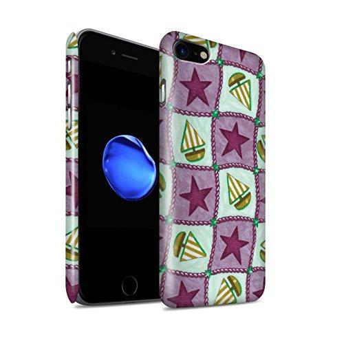 STUFF4 Glanz Snap-On Hülle / Case für Apple iPhone 8 / Pfirsich/Lila Muster / Boote und Sterne Kollektion Violett/Grün