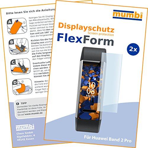 mumbi Flex Schutzfolie kompatibel mit Huawei Band 2 Pro Folie, Bildschirmschutzfolie (2x)