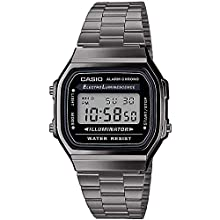 Casio Mens Digital Japanese Quartz Watch with Stainless Steel Strap A168WEGG-1AEF