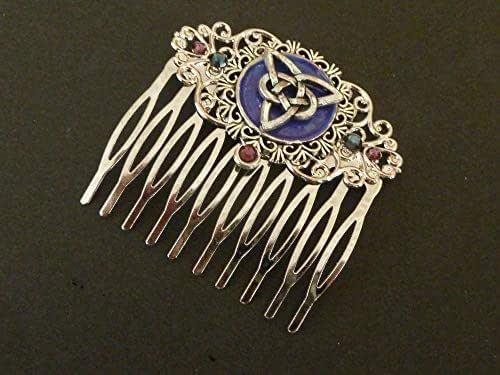 Pettine per capelli con nodo celtico viola blu argento Irlanda accessori per capelli idea regalo donna