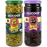 Olicoop Black Slice Olives + Green Slice Olives, 450g, Pack of 1 Unit Each