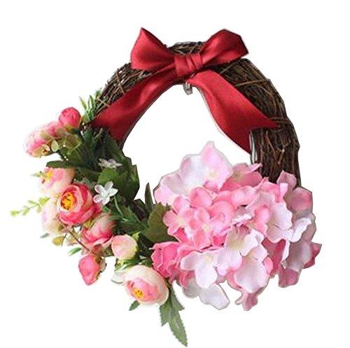[rosso] ghirlanda artificiale che appende la decorazione di nozze della ghirlanda della porta della ghirlanda della ghirlanda del rattan