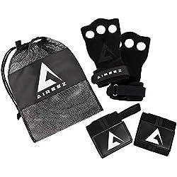 Aireez 2 in 1 Crossfit Handschuhe & Handgelenk Bandagen Set für Damen & Herren (Small, Schwarz) Fitness Handschuhe + Handgelenkbandage Atmungsaktiv & Rutschfest für Training