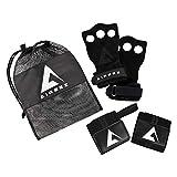 Aireez 2 in 1 Crossfit Handschuhe und Handgelenk Bandagen Set für Damen und Herren (Small, Schwarz) Fitness Handschuhe + Handgelenkbandage Atmungsaktiv und Rutschfest für Training