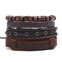 4-6PCS Set Handmade Leather Bracelet for Men & Women Multi-layer Woven Leather Bracelet with Unisex Cuff Adjustable Wristband Knots (4set-1)
