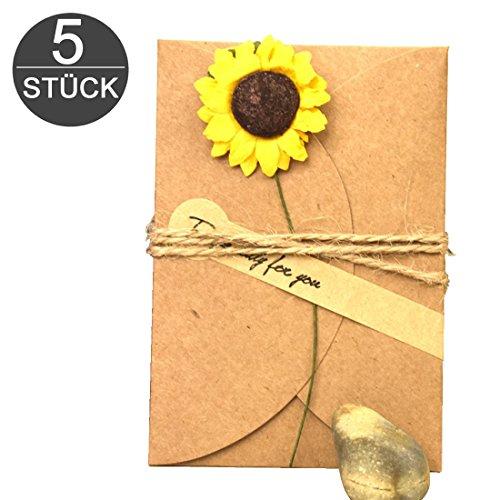 wortek Grußkarten 5 Stück Retro Glückwunschkarten DIY Kraftpapier zum Selbst Gestalten 10,5x7cm mit handgefertigter getrockneter Blume, Jute-Schnur zur kreativen individuellen Gestaltung + Aufkleber