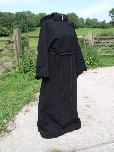 Black Cotton Drill Hooded Pullover Robe SM Adult Size Pagan/Jedi/Wizard/LARP -