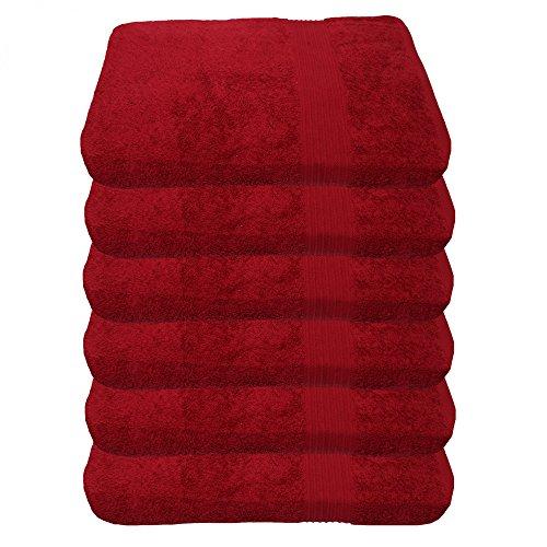 Julie Julsen 6er Pack Handtuch 23 Farben erhältlich weich und saugstark 500gsm Öko Tex Bordeaux 50 x 100 cm