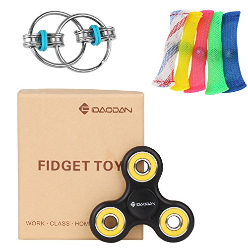 Fidget Toys IDAODAN Fidget Spinner + Mesh & Marble Play Fidgets + Chain Fidget Toy Stress Relief for Kids/Adults ADD/ADHD/Autism/Anxiety/OCD (Yellow)