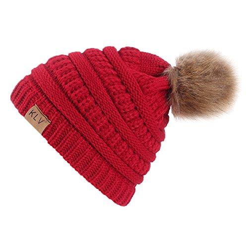 Damen Mütze Strickmütze Beanie Hüte Winter Bommelmütze mit Pelz Bommel Pompon