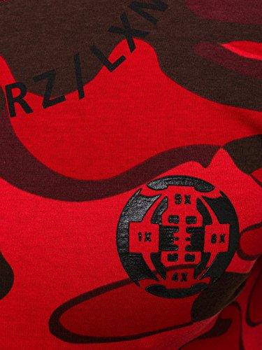OZONEE uomo maglietta con motivo Manica Corta Girocollo Che fa risaltare la figura Mimetico BREEZY 366 Rosso