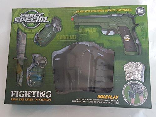 Kinder Militär Set Special Force NEU mit Pistole Messer 2 Granaten Marke und Gürtelhalter (Kinder Spielzeug Soldaten Kostüme)