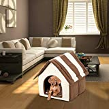 MiaoMiao Indoor Pet Dog/Cat House Bed Pet Kennel Dog House Coffee Kennel Cat Litter Soft Warm Pet Nest With Removeable Cushion,Browns
