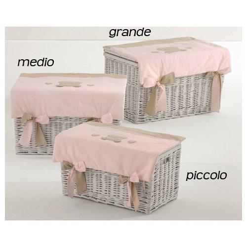 Nanan baule portagiochi in vimini toffi piccolo rosa [n1032]