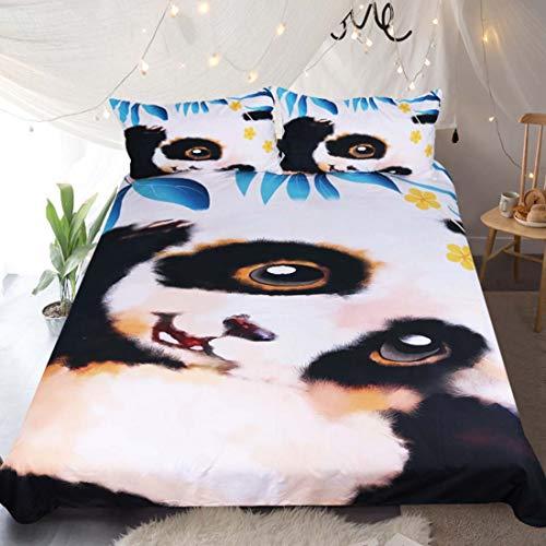 3 Stück Queen-size-schlafzimmer-set (Cnspin PandaDuvet Set King-Size-Queen-Bettwäsche Set Reversible Polyesterfaser-Schlafzimmer Set 3 Stücke 1 Bettbezug 2 Kissenbezüge,Queen:210x210cm)