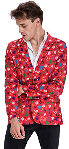 Modisch Herren Party Blazer Halloween Weihnachten Kostüme Festliche Sakko Party Sakko mit Lustigen Mustern Mehrfarbig -Rot/XL (Halloween-jackett)