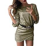 B-commerce Damen kurzes Kleid - Frauen Glitter Rundhalsausschnitt figurbetontes Loose Half Sleeve Clubwear Cocktail Minikleid