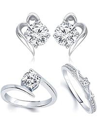 VK Jewels Rhodium Plated Alloy CZ American Diamond Combo Ring & Earring Set for Women [VKCOMBO1655R]