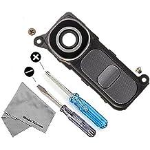 MMOBIEL Reemplazo de lente de vidrio para cámara trasera para LG G4 H610 H811 H812 H815 (Negro / Gris) + Juego de Soporte de Cubierta incl. Bisel / soporte del marco y 2 x tornillos