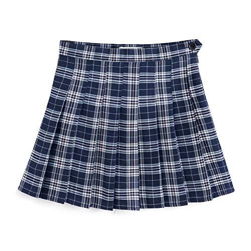YOUGUE Damen Tennis-Minirock kariert Plissee Schulmädchen Uniform Rock - Blau - (US X-Small) Taille - 25.98