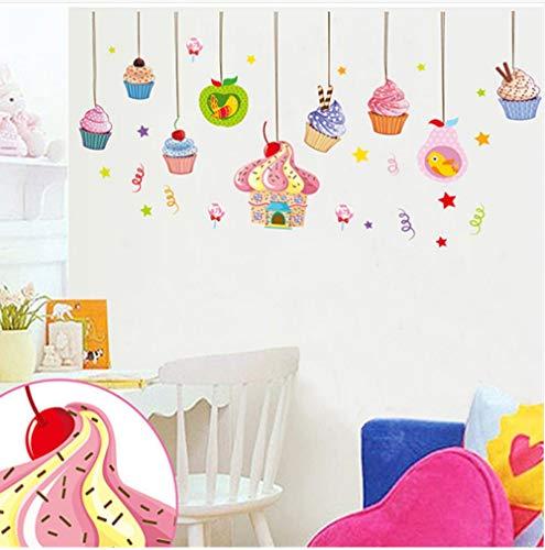 Kreative Farbe Eis Cartoon Wandaufkleber Kinderzimmer Kaltgetränke Shop Dekoration Diy Abnehmbare Selbstklebende Aufkleber
