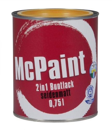 McPaint 2in1 Buntlack Grundierung und Lack in einem für Innen und Außen. PU verstärkt - speziell für Möbel und Kinderspielzeug seidenmatt Farbton: RAL 1021 Rapsgelb 0,75 Liter