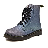 Angrousobiu Rainbow gradient retro Martin boots female autumn and winter personalized high help ladies boot with a flat base system with short boots