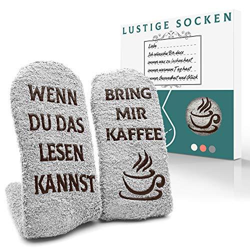 iZoeL Witzige Socken mit Geschenkbox für Herr Frau Freundin Spruch Wenn Du Das Lesen Kannst Bring mir Schokolade/Kaffee/Wein Lustige Geschenk (Kaffee Socken)