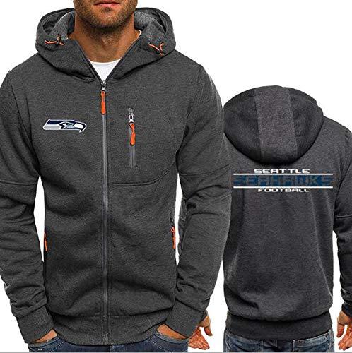 XHDH NFL Seattle Seahawks für Männer Pullover Zip Hoodies Spitzenbluse Tracksuits Sportswear Langarm-beiläufigen Sweatshirt Druck,3XL