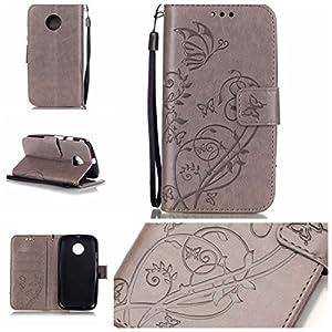 Jepson Motorola Moto E2 / 2 Hülle, Leadertasche Premium Lederhülle Flip Case im Bookstyle Folio Cover Kartenfächer Magnetverschluss und Standfunktion Leder Schale Etui für Handytasche Schutzhülle Prägung Schmetterling Muster.