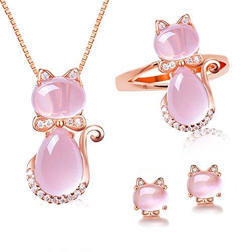 Uloveido Light Pink Crystal Zirkonia Ohrstecker Aniaml Anhänger Halskette Ringe Katze Schmuck-Set für Teen Girls (Größe 54 (17,2) Y427